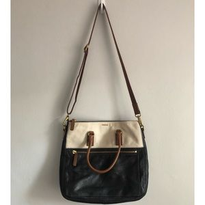 Fossil Large Black and White Color block Crossbody